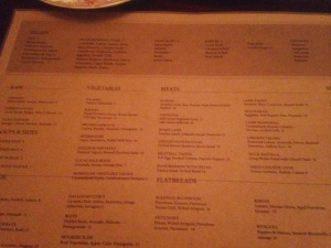 Here is the current menu. You can see how the sections are divided.