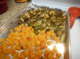 Roast butternut squash and Brussels sprouts 25-30 minutes until squash is tender and sprouts are crisp....