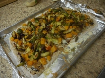 Top with squash and Brussels sprouts...