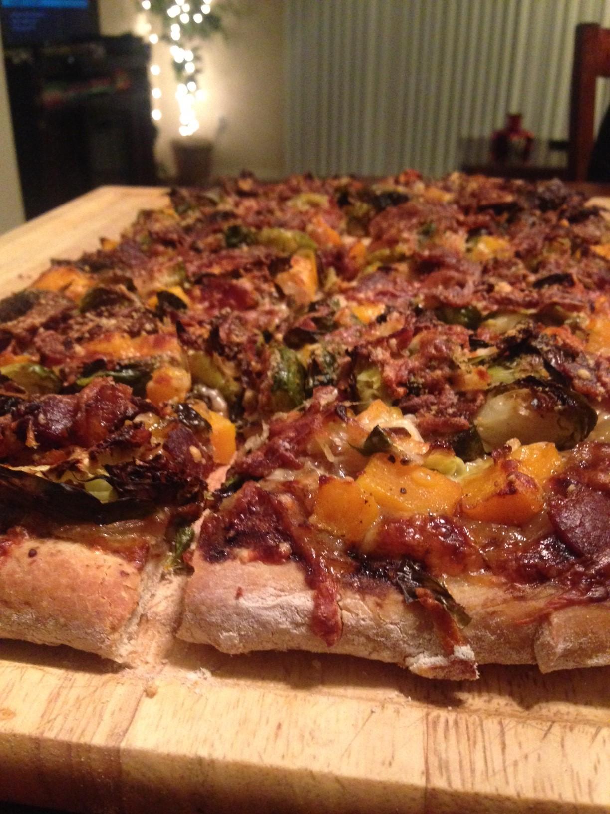 Butternut Brussels Bacon Pizza 1