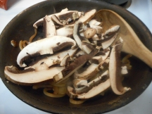 Add the mushrooms, season, and saute....