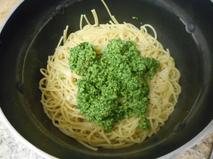 Add your pesto to the spaghetti.