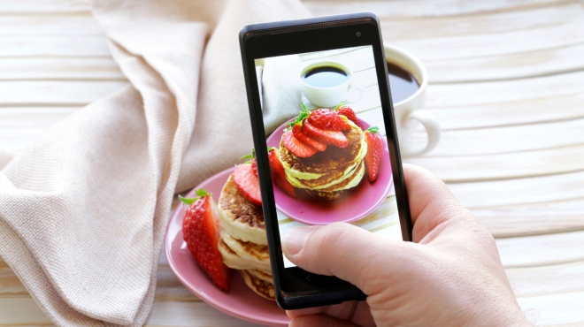smartphone shot food photo  - pancakes with strawberries for breakfast