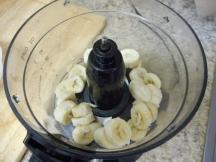 Bananas into food processor...