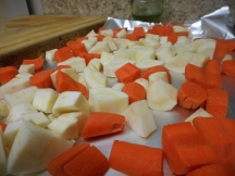 Cut and arrange on the baking sheet.