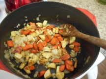 Add the roasted carrots and parsnips.