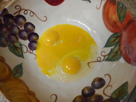 Crack the eggs into the bottom of a glass bowl...